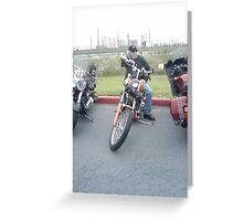 biker lady hubby Greeting Card