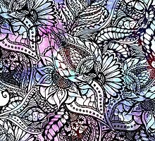 Purple blue watercolor floral hand drawn pattern by GirlyTrend