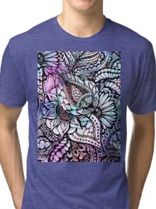 Purple blue watercolor floral hand drawn pattern Tri-blend T-Shirt