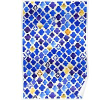 Rustic Watercolor Moroccan in Royal Blue & Gold Poster