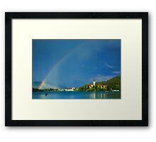 Rainbow over Lake Bled Framed Print