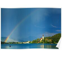 Rainbow over Lake Bled Poster