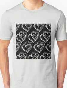 Black and White Vintage Heart Pattern T-Shirt
