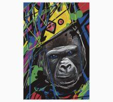 King Gorilla with Crown Splash Art One Piece - Short Sleeve