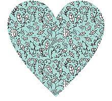 Blue Flower Heart by Carla Martell