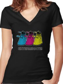 Doctor Who - Exterminate! Women's Fitted V-Neck T-Shirt