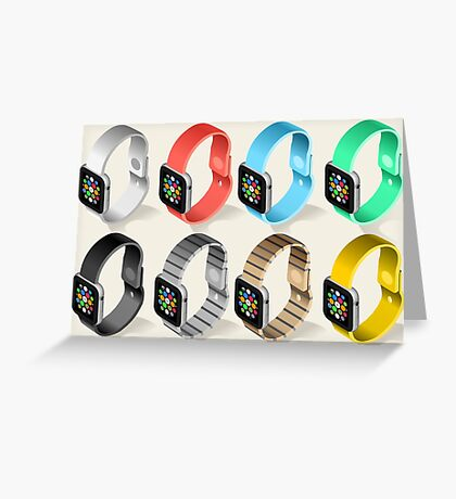 Isometric Smart Watch in Six Colors Greeting Card