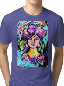 Pretty Flower Girl Abstract Art Tri-blend T-Shirt