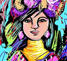 Pretty Flower Girl Abstract Art by Inspired2Cre8