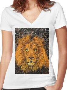 African Lion Women's Fitted V-Neck T-Shirt