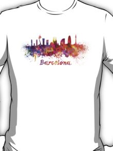 Barcelona skyline in watercolor T-Shirt