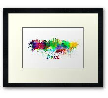 Doha skyline in watercolor Framed Print