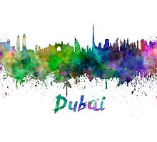 Dubai skyline in watercolor by paulrommer