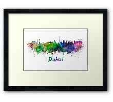 Dubai skyline in watercolor Framed Print