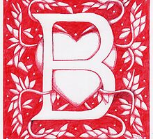 Red Heart Letter B by Donna Huntriss