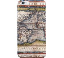1564 World Map by Ortelius iPhone Case/Skin