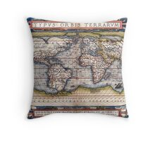 1564 World Map by Ortelius Throw Pillow