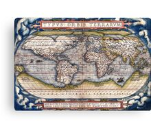 1564 World Map by Ortelius Canvas Print