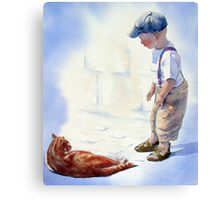 Small Boy and Cat Canvas Print