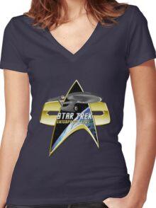 StarTrek Enterprise 1701 Com badge Women's Fitted V-Neck T-Shirt