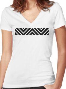 Black Red Chevron Women's Fitted V-Neck T-Shirt