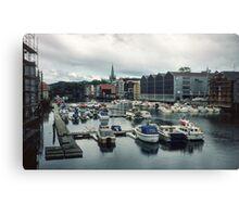 Harbour at Trondheim Norway 19840622 0001m  Canvas Print