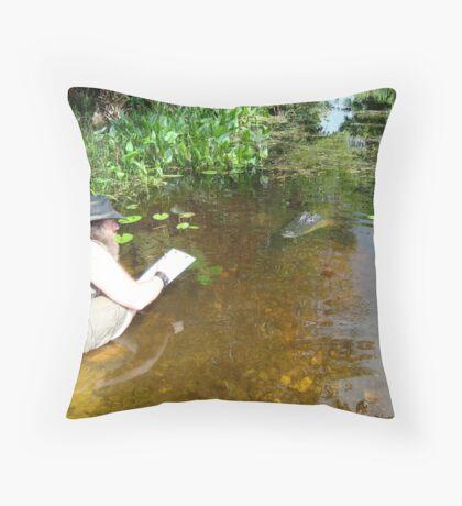 Snake Artist vs Alligator Throw Pillow