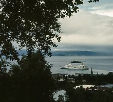Cruise liner in port Trondheim Norway 198406220004 by Fred Mitchell