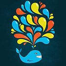 Dark Colorful Splash Happy Cartoon Whale by Boriana Giormova