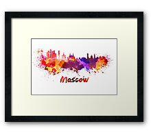 Moscow skyline in watercolor Framed Print