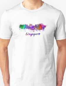 Singapore skyline in watercolor T-Shirt