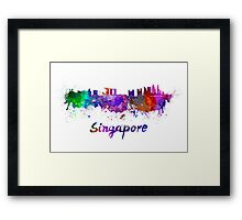 Singapore skyline in watercolor Framed Print