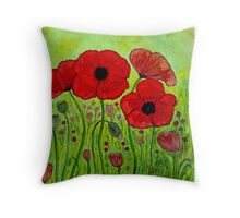 Poppies~Alcohol Ink Design Throw Pillow