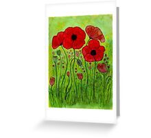 Poppies~Alcohol Ink Design Greeting Card