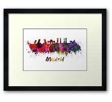 Madrid skyline in watercolor Framed Print