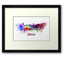 Seoul skyline in watercolor Framed Print