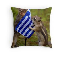 Boy Chip Joins Chippy In Greece To End Animal Abuse Throw Pillow