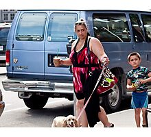 Three persons, one dog Photographic Print
