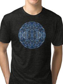 Indigo Blue Watercolor Swirl Pattern Tri-blend T-Shirt