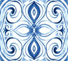 Indigo Blue Watercolor Swirl Pattern Sticker