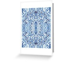 Indigo Blue Watercolor Swirl Pattern Greeting Card
