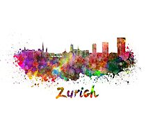 Zurich skyline in watercolor Photographic Print