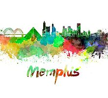 Memphis skyline in watercolor by paulrommer