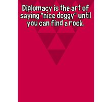 """Diplomacy is the art of saying """"nice doggy"""" until you can find a rock. Photographic Print"""