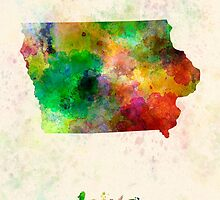 Iowa US state in watercolor by paulrommer