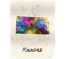 Kansas US state in watercolor Poster