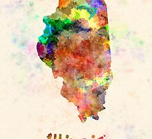 Illinois US state in watercolor by paulrommer