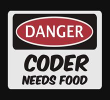 CODER NEEDS FOOD, FUNNY FAKE SAFETY SIGN SIGNAGE Baby Tee