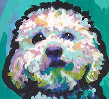 Poodle Maltipoo Dog Bright colorful pop dog art by bentnotbroken11