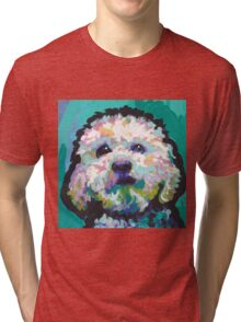 Poodle Maltipoo Dog Bright colorful pop dog art Tri-blend T-Shirt